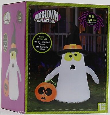Halloween Gemmy 6 ft Trick or Treat Ghost with Pumpkin Bag Airblown Inflatable