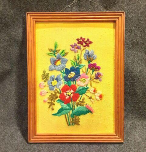 Vintage Framed CREWEL Art Needlepoint Floral Wall Hanging 15 x 11