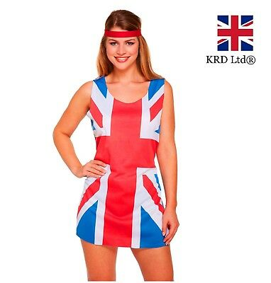 Spice Girl Kostüm (LADIES UNION JACK FANCY DRESS COSTUME Adult 90s Ginger Spice Girls Outfit New UK)