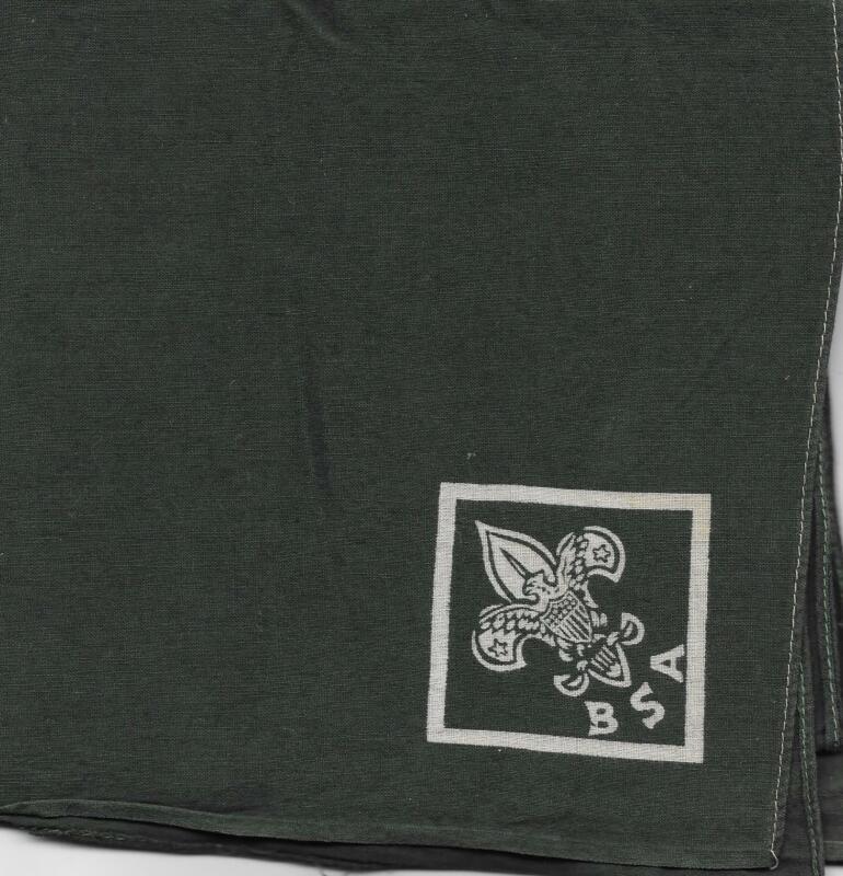 Generic WHT Silkscreened GRN Square Neckerchief Boy Scouts of America BSA