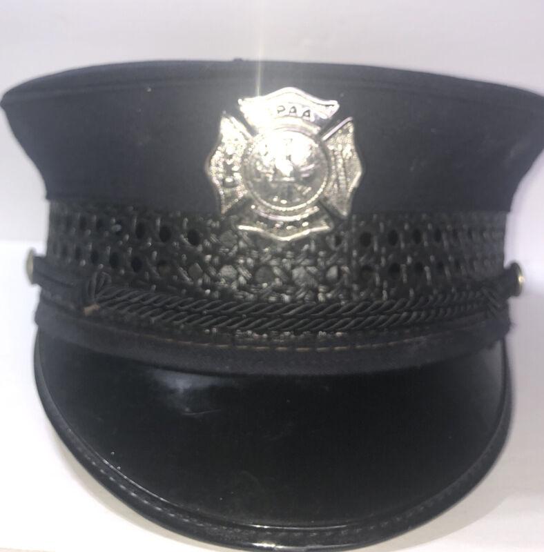 Vintage Firefighter Dress  Uniform Cap- S.P.A.A.M.F. A - Navy blue