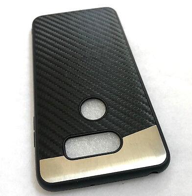 For LG V30 / V30 PLUS - Magnetic BLACK Carbon Fiber Hard TPU Rubber Case Cover