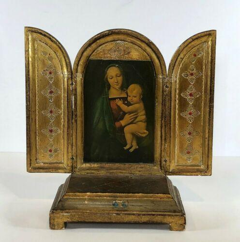 Vintage Florentine Gold Gilt Madonna & Child Triptych with Music Box Religious