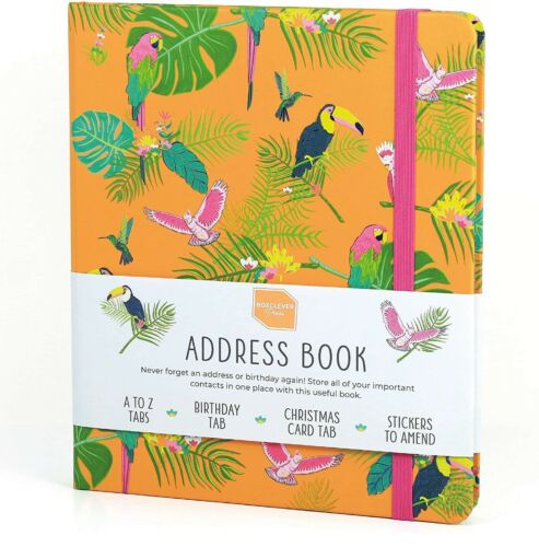 "Beautiful Boxclever Birds Address Book with Tabs. Large Address Book 8.5"" x 7"