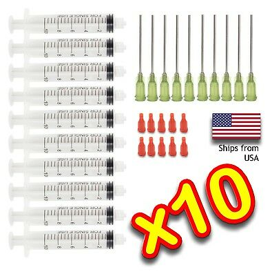 10 Pack 10ml Syringe Blunt Tip Needle 14 Gauge 1-12 Wcaps Diy Liquid Glue