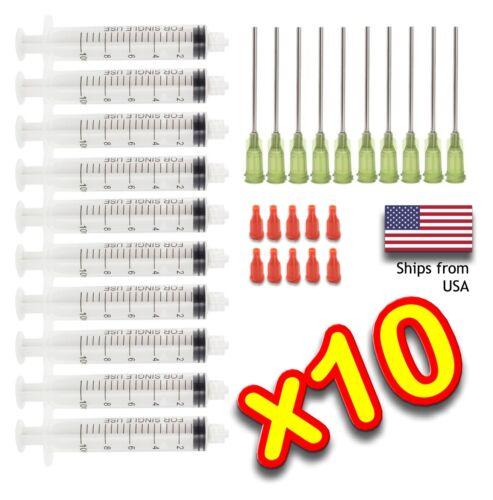 """10 Pack 10ml Syringe + BLUNT TIP NEEDLE 14 Gauge 1-1/2"""" w/Caps DIY Liquid Glue"""