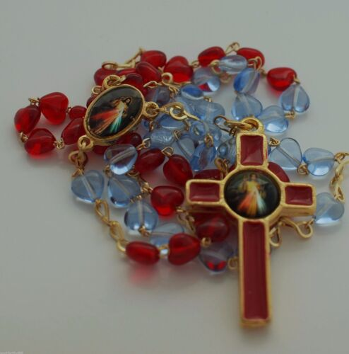 Divine Mercy Rosary Necklace 6mm glass heart beads Red Blue Rosarie Prayer