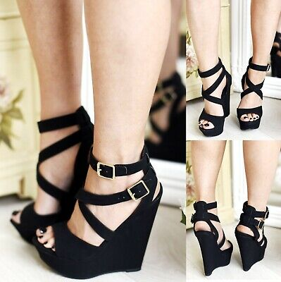 LADIES WOMENS ANKLE STRAP PEEP TOE HIGH WEDGE HEELS PLATFORM SANDALS SHOES SIZE
