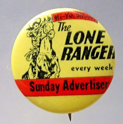 1930's LONE RANGER SUNDAY ADVERTISER Comic Strip pinback button movies Western *