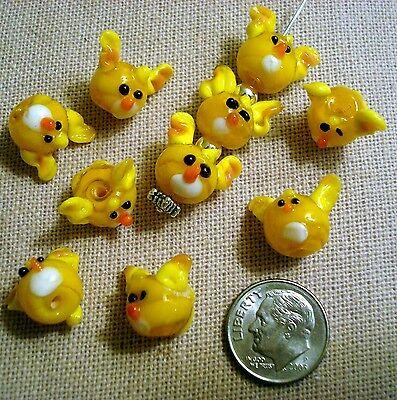 10 Dog beads yellow glass lampwork handmade floppy ear puppy face beads gbs002