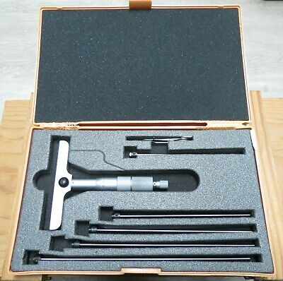 Mitutoyo 129-116 Depth Gauge Micrometer Set Winterchangeable Rods