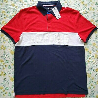 New Mens Tommy Hilfiger Short Sleeve X-Large Polo Shirt, HILFIGER on Front