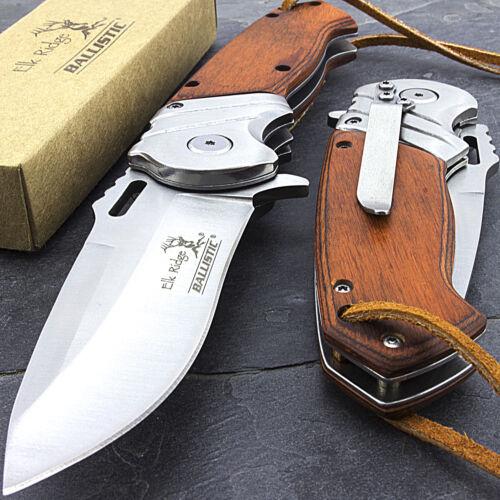 "8.25"" ELK RIDGE WOOD SPRING OPEN ASSISTED FOLDING POCKET KNIFE + LEATHER LANYARD"