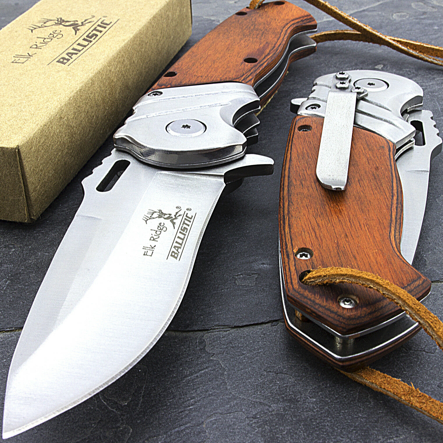 Купить Elk Ridge - 8.25 ELK RIDGE WOOD SPRING ASSISTED FOLDING POCKET KNIFE w/ LEATHER LANYARD