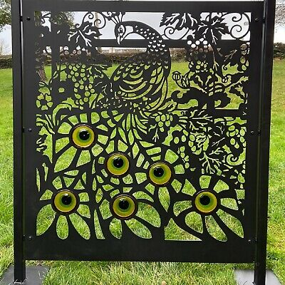 Fence Panel Privacy Screen Peacock Glass Inserts - Garden Patio Divider Outdoor