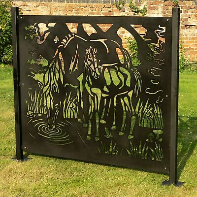 Fence Panel Privacy Screen Running Horses - Garden Patio Divider Outdoor Balcony