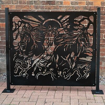 Fence Panel Privacy Screen Running Horses - Garden Patio Outdoor Laser Cut Deck