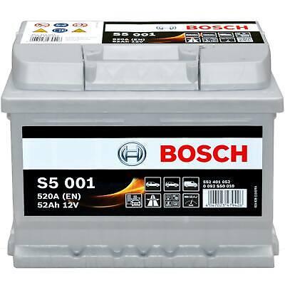 Autobatterie 12V 52Ah Bosch S5001 Starterbatterie PKW KFZ Batterie 0 092 S50 010