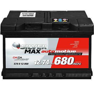 SilverMax Autobatterie 12V 74Ah 680A Starterbatterie DIN 57412 ersetzt 75Ah 80Ah