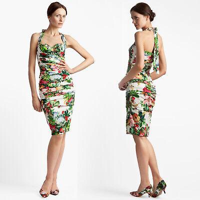Dolce&Gabbana Flower Print Silk Charmeuse Coctail Dress sz 46/10 -