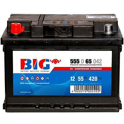 Autobatterie 12V 55Ah 420A 55565 BIG Starterbatterie ersetzt 44Ah 45Ah 50Ah 52Ah