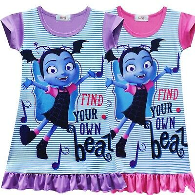 Best Nightdress Cartoon Vampirina Cosplay Dress Toddle Girls Kids Home Pajamas ()