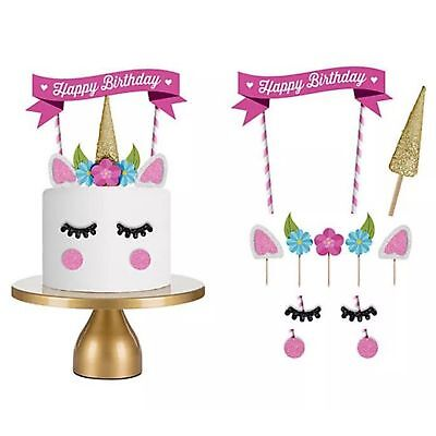 1 Set Unicorn Cake Topper Happy Birthday Candle Party Supplies Decor Tool DIY - Birthday Cake 1 Candle
