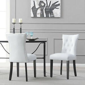 Modern Leather Tufted Back Elegant White Dining Chair Nailhead Accent, Set  Of 2
