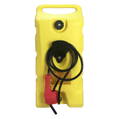 14 Gallon Fuel Transfer Gas Caddy Tank Pump Container Portable Rolling Yellow