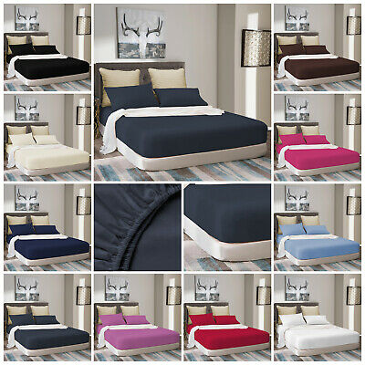 Extra Deep Full Fitted Sheet 100% Poly Cotton Bed Sheets Single Double King Size