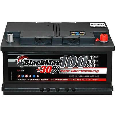 Autobatterie 12V 100Ah BlackMax Starterbatterie ersetzt 85Ah 88Ah 90Ah 92Ah 95Ah