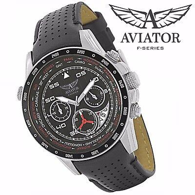AVIATORS Pilot Watch Black Strap Military Mens Waterproof World Time Chronograph Aviator Pilot Chronograph Watch