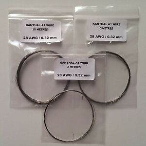 KANTHAL A1 RESISTANCE WIRE - 20,22,24,26,28,30,32 AWG (GAUGE) - 2, 5 & 10 METRES