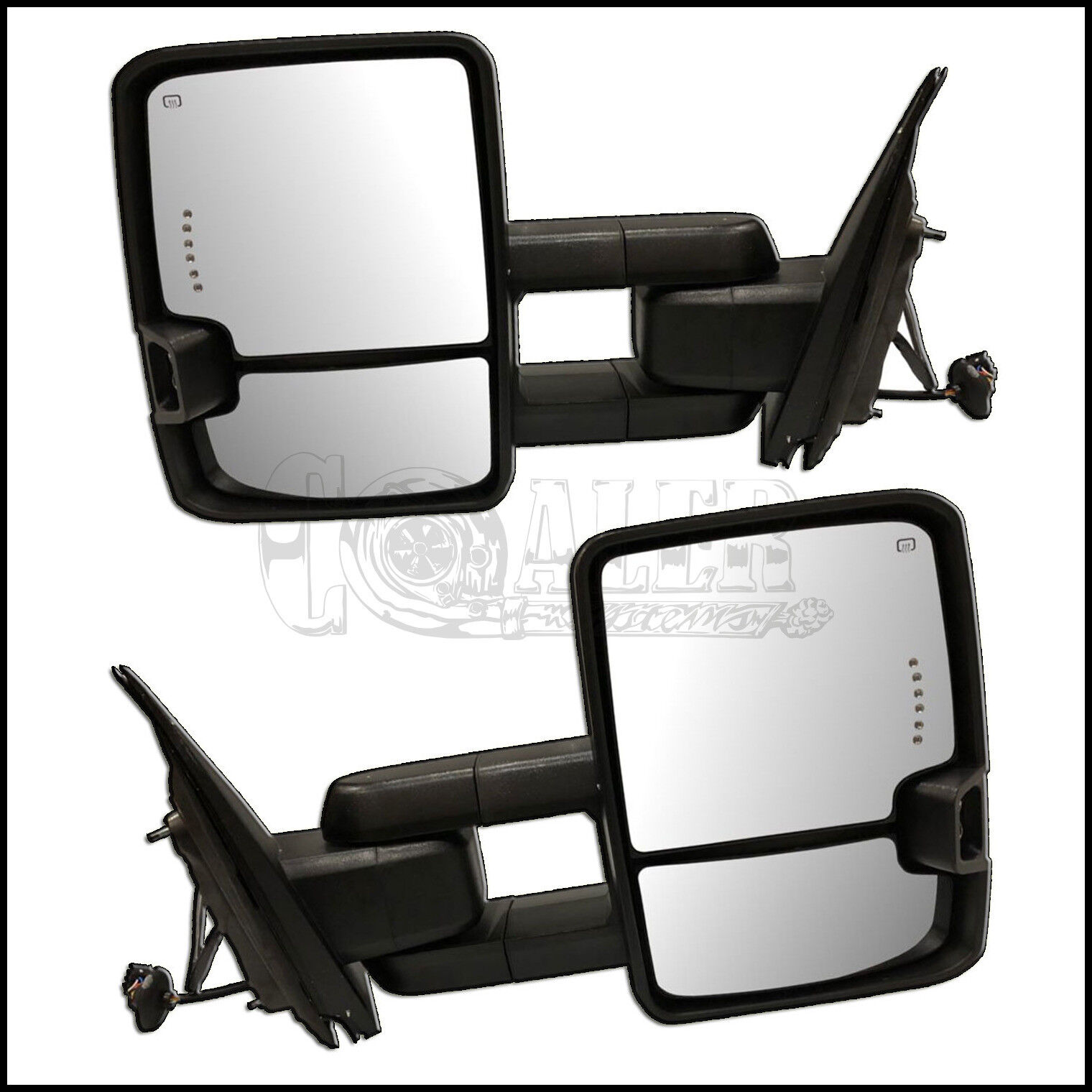 For 14-18 Silverado Sierra Chrome Power+Heated+LED Turn Signal Towing mirrors