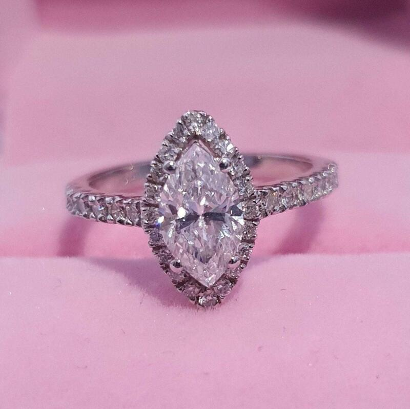 Real Diamond Engagement Ring E/si1 2.50 Ct Marquise Cut 14k White Gold