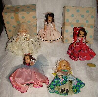 Vtg Nancy Ann Storybook Doll Lot of 5 Bride Hard Plastic Boxes