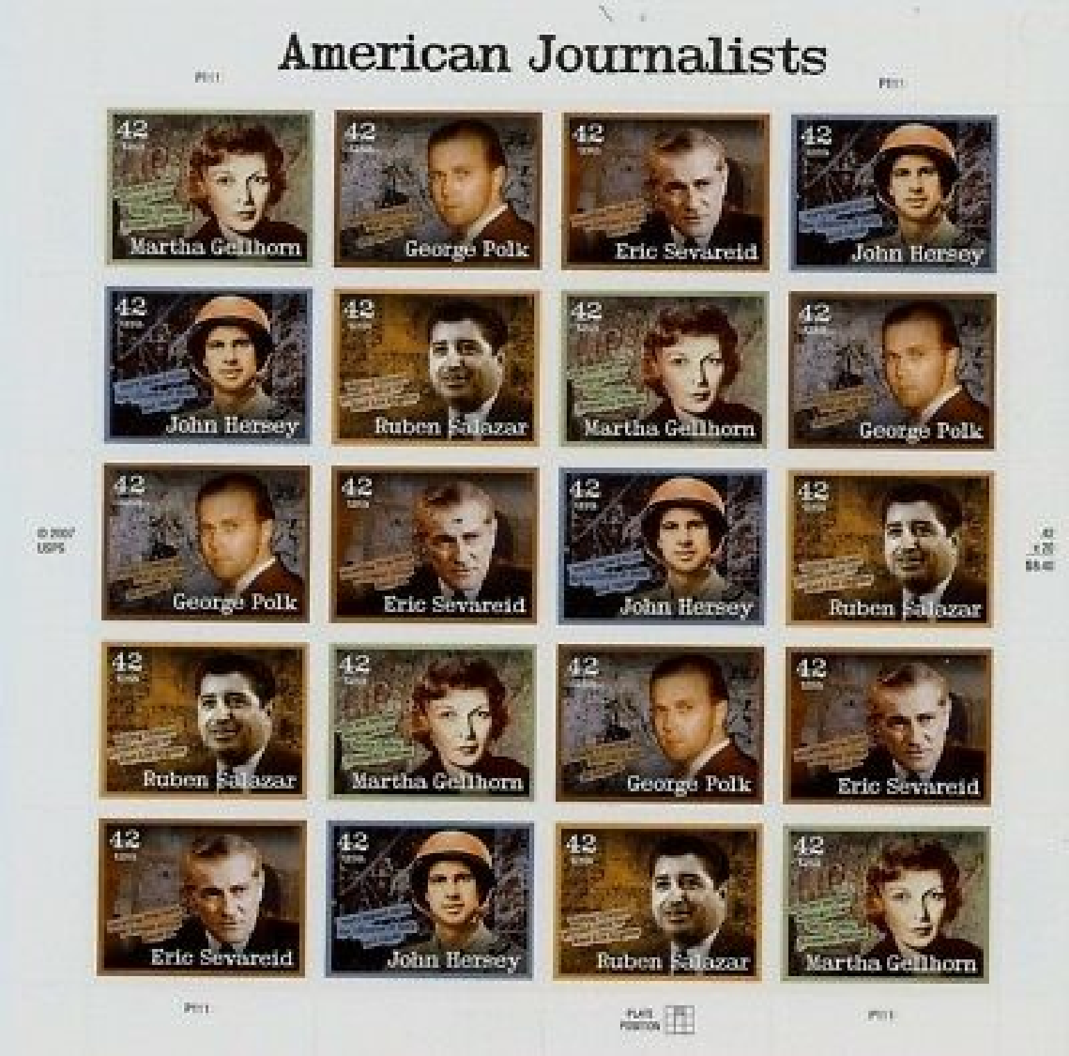 # 4248-52 US Postage Stamps Sheet AMERICAN JOURNALISTS