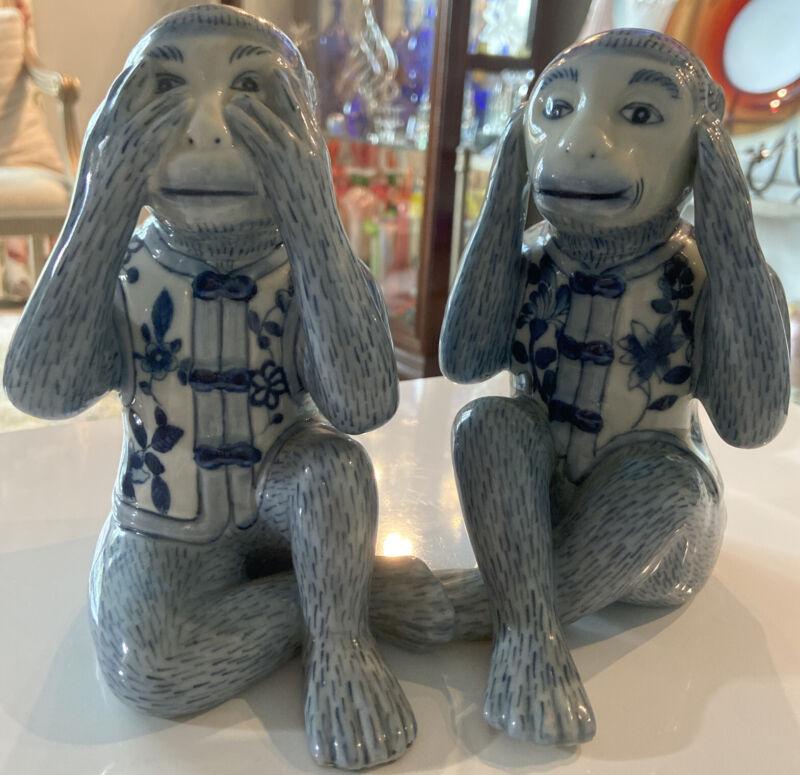 Vintage Blue and White Chinese porcelain Monkeys Figurine
