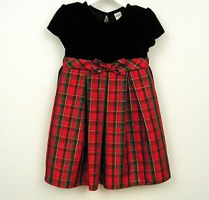 Girls dress sz 3t 4t red green gold plaid christmas holiday party