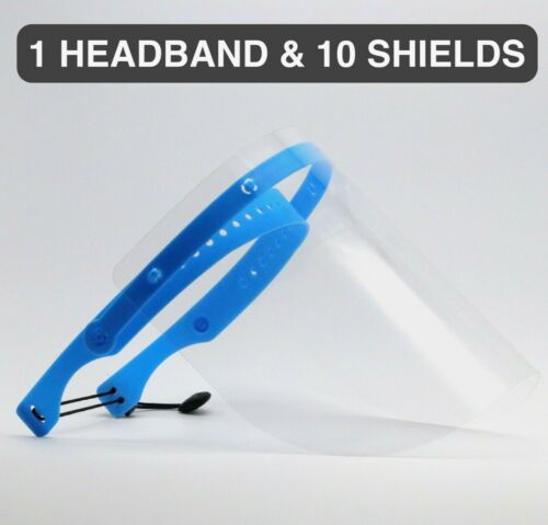 Safety Full Face Shield Clear Flip-Up Visor 1 PACK 10 SHIELDS Reusable Face Mask