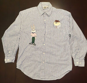 Warner Brothers Acme Clothing Co Striped Long Slv Bugs Bunny & Taz Unisex Sz SM