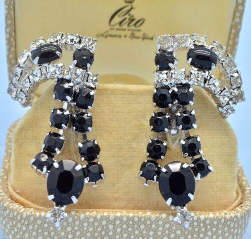 Vintage Earrings Large 1950s Black Glass Clear Crystal Drop Silvertone Jewellery