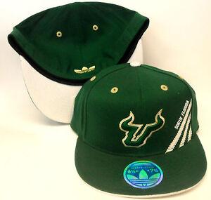 NCAA-South-Florida-Bulls-Adidas-Hat-210-Fitted-Cap-Flat-Brim-Flex-NEW-FREE-SHIP