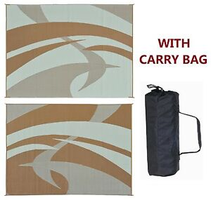 RV PATIO AWNING MAT OUTDOOR RUG 9X12 BROWN BEIGE