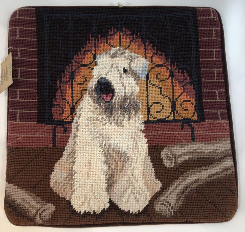 "Bearded Collie Wheaten Dog Fireplace Needlepoint 14"" Velveteen Back w/ Zipper"