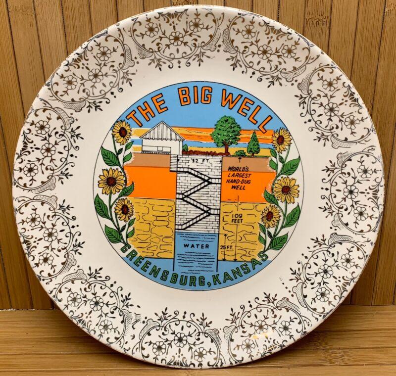 Vintage Greensburg Kansas KS The Big Well Hand Dug Collector Sabina Line Plate