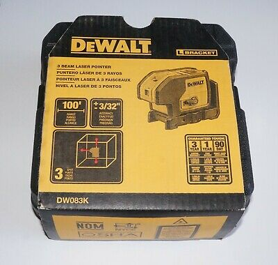 Dewalt Laser Levels 3 Beam Laser Pointer Level Dw083k New