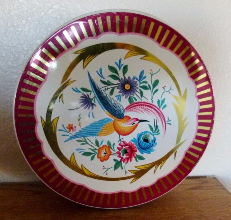 "VINTAGE BIRD & FLOWERS TIN 10 x 3.5"" beautiful~ unmarked"
