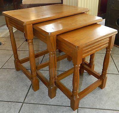 Dreier Tisch Set DREISATZTISCH in Eiche Massiv  (2)