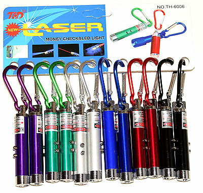-  3 in 1 Red Laser Flashlight Pointer UV LED Check Clip Keychain Pen W Battery